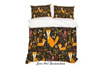 3D Cartoon Fox Leaf Quilt Cover Set Bedding Set Pillowcases 2-Double