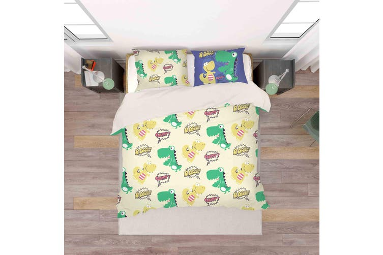 3D Dinosaur Green Wall Quilt Cover Set Bedding Set Pillowcases 19-King