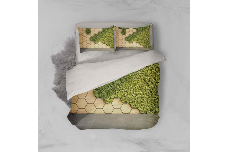 3D Geometric Pattern Green Grass Quilt Cover Set Bedding Set Pillowcases 13-Double