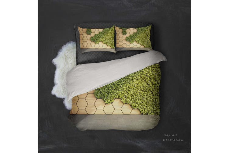 3D Geometric Pattern Green Grass Quilt Cover Set Bedding Set Pillowcases 13-Queen