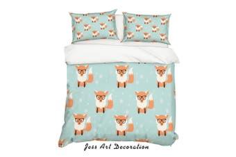 3D Cartoon Fox Green Quilt Cover Set Bedding Set Pillowcases 4-Double