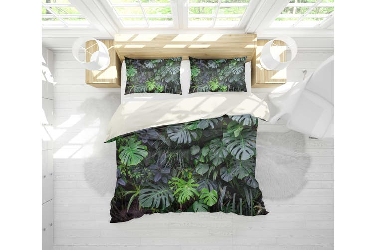 3D Green Leaf Quilt Cover Set Bedding Set Pillowcases 2-Double