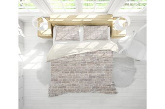 3D Grey Brick Wall Quilt Cover Set Bedding Set Pillowcases 1-Single