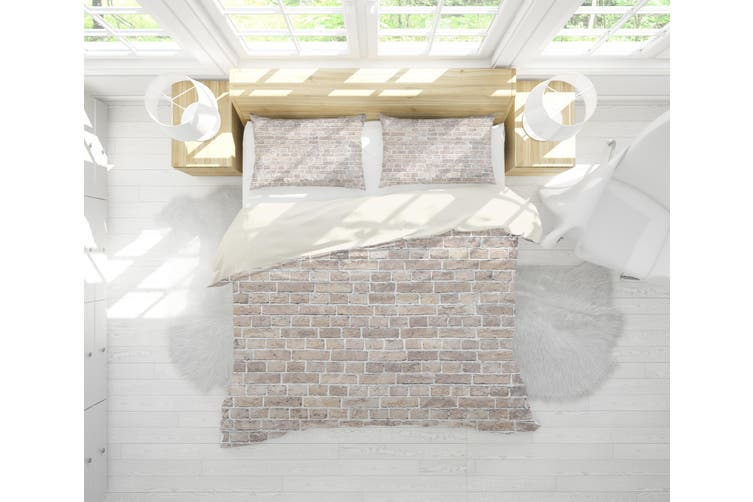 3D Grey Brick Wall Quilt Cover Set Bedding Set Pillowcases 1-King