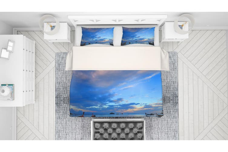 3D Blue Sea Sky Boat Quilt Cover Set Bedding Set Pillowcases 83-Single