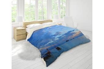 3D Blue Sea Sky Boat Quilt Cover Set Bedding Set Pillowcases 83-Queen