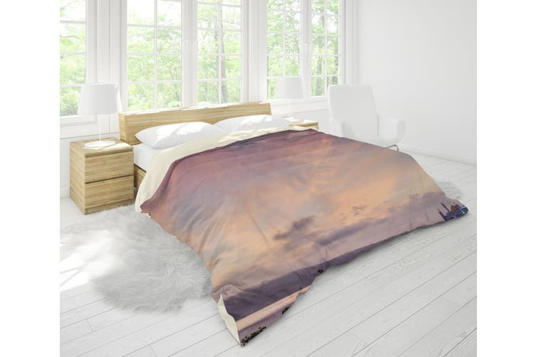 3D Sky House River Flower Road Quilt Cover Set Bedding Set Pillowcases 82-King