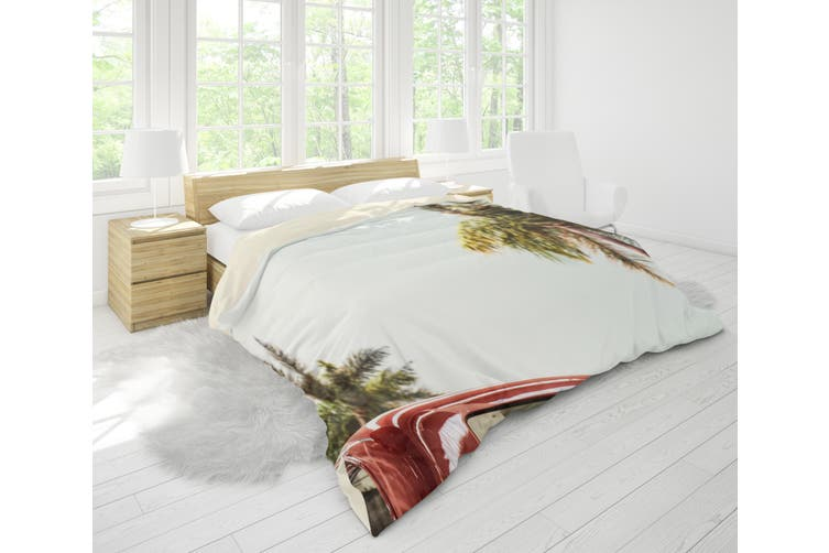 3D Coconut Tree Sea Car Quilt Cover Set Bedding Set Pillowcases 81-Single