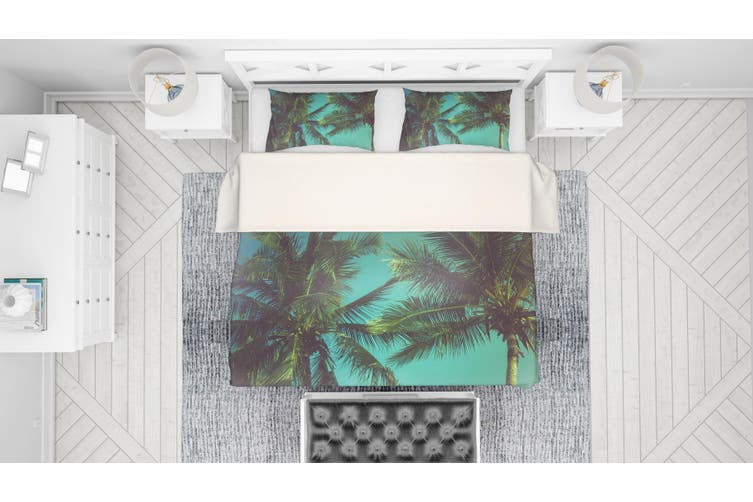 3D Green Coconut Tree Quilt Cover Set Bedding Set Pillowcases 80-Single