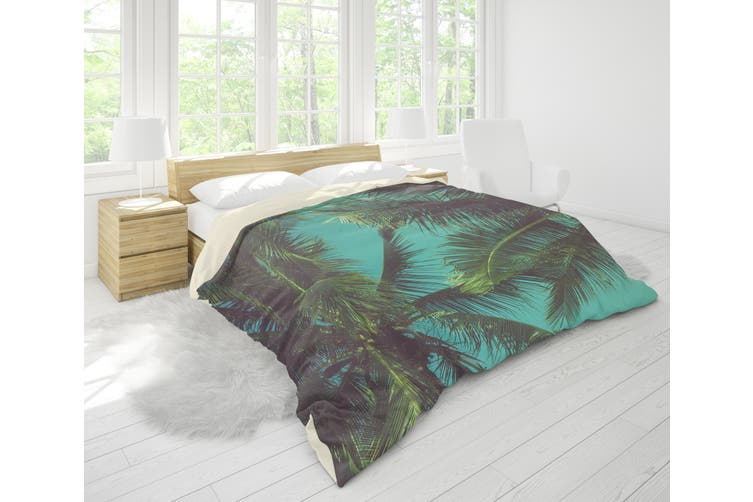 3D Green Coconut Tree Quilt Cover Set Bedding Set Pillowcases 80-King