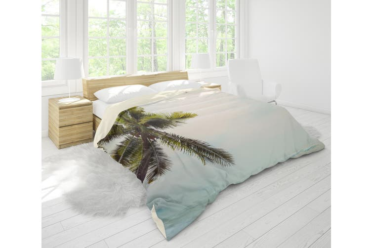 3D Coconut Tree Sea Wave Quilt Cover Set Bedding Set Pillowcases 77-King