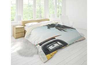 3D Sea Beach Coconut Tree Car Quilt Cover Set Bedding Set Pillowcases 76-King