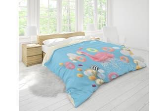 3D Blue Flamingo Lifebuoy Ball Quilt Cover Set Bedding Set Pillowcases 74-Double