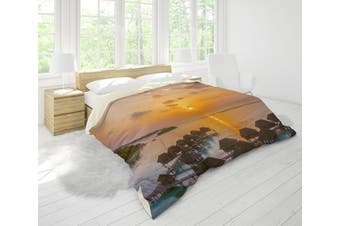 3D Golden Cabin Sea Sunset Quilt Cover Set Bedding Set Pillowcases 52-Double