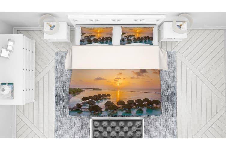 3D Golden Cabin Sea Sunset Quilt Cover Set Bedding Set Pillowcases 52-Queen