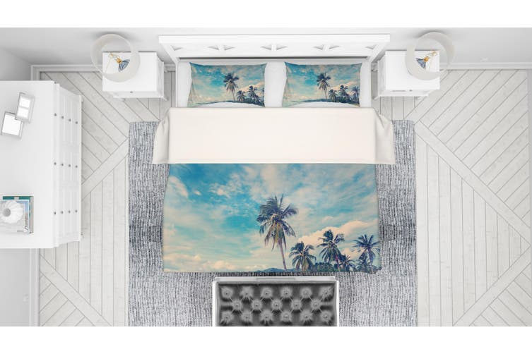 3D Sky Sea Beach Mountains Coconut Tree Quilt Cover Set Bedding Set Pillowcases 48-Queen