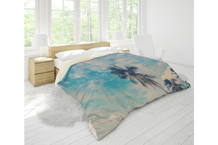 3D Sky Sea Beach Mountains Coconut Tree Quilt Cover Set Bedding Set Pillowcases 48-King