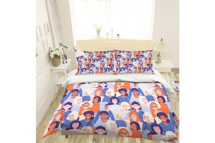 3D Cartoon Crowd Pattern Quilt Cover Set Bedding Set Pillowcases 127-King