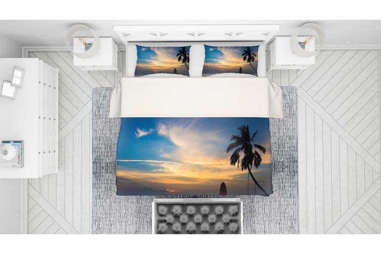 3D Blue Sea Beach Palm Tree Surfboard Quilt Cover Set Bedding Set Pillowcases 44-King