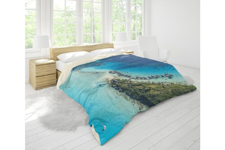 3D Blue Sea Island Forest Quilt Cover Set Bedding Set Pillowcases 43-King