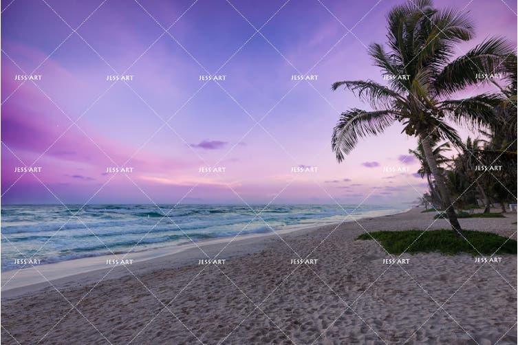 3D Purple Sea Beach Palm Tree Quilt Cover Set Bedding Set Pillowcases 42-Single
