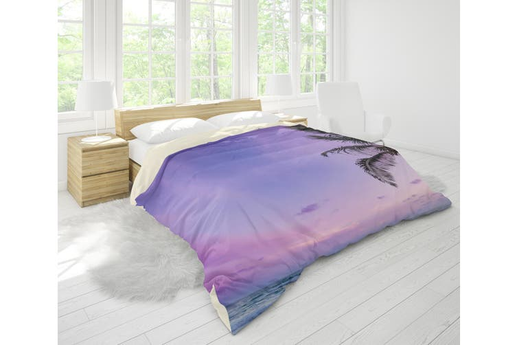 3D Purple Sea Beach Palm Tree Quilt Cover Set Bedding Set Pillowcases 42-Queen