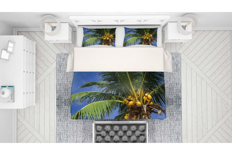 3D Coconut Tree Quilt Cover Set Bedding Set Pillowcases 40-King
