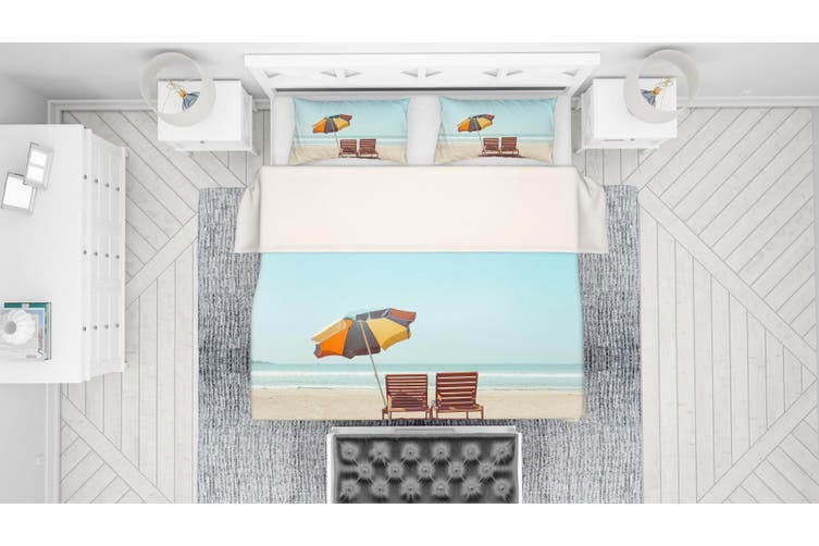 3D Sea Beach Recliner Sun Umbrella Quilt Cover Set Bedding Set Pillowcases 39-Double