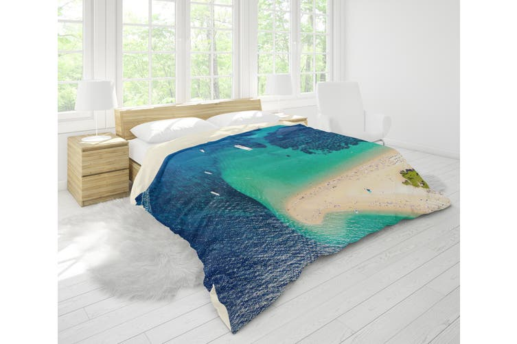 3D Blue Sea Beach Forest Quilt Cover Set Bedding Set Pillowcases 36-Single
