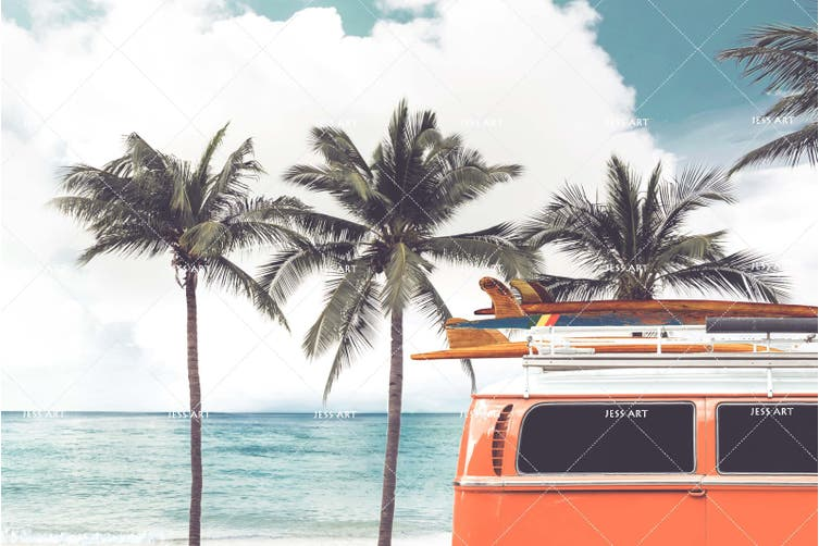 3D Coconut Tree Sea Minibus Quilt Cover Set Bedding Set Pillowcases 35-Single