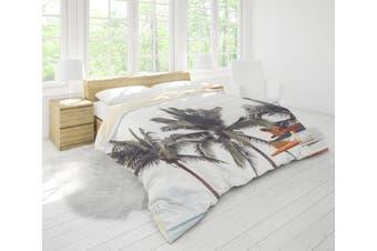3D Coconut Tree Sea Minibus Quilt Cover Set Bedding Set Pillowcases 35-Queen