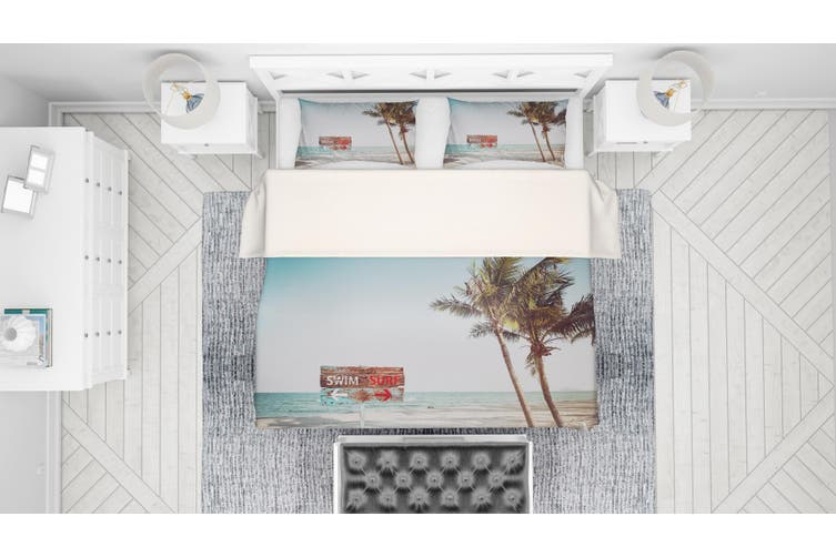 3D Blue Sea Beach Coconut Tree Quilt Cover Set Bedding Set Pillowcases 34-Queen