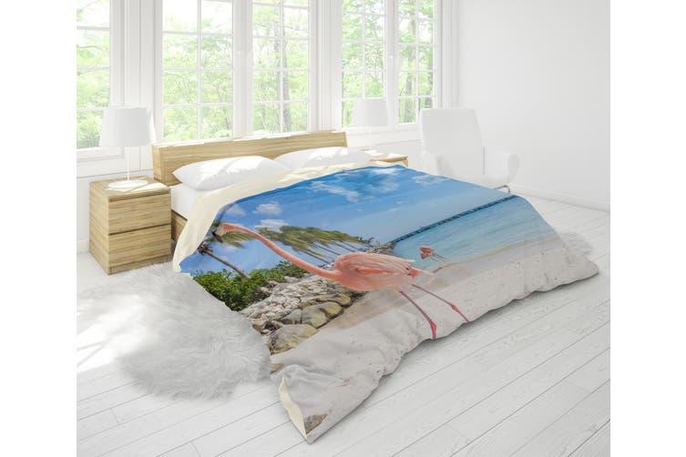 3D Blue Sea Flamingo Trees Quilt Cover Set Bedding Set Pillowcases 31-Single