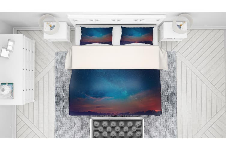 3D Blue Starry Sky Universe Night Quilt Cover Set Bedding Set Pillowcases 30-Queen