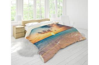 3D Golden Sunset Sea Beach Quilt Cover Set Bedding Set Pillowcases 29-Double