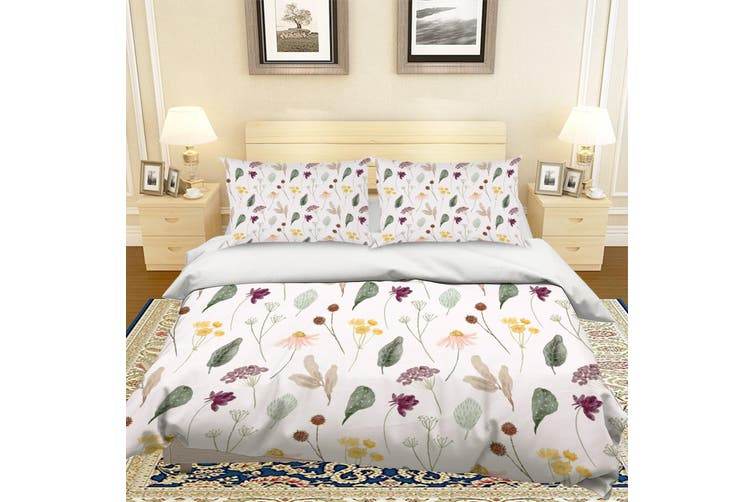 3D Green Leaves Flowers Quilt Cover Set Bedding Set Pillowcases 125-Queen