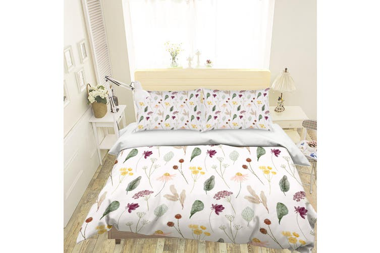 3D Green Leaves Flowers Quilt Cover Set Bedding Set Pillowcases 125-King