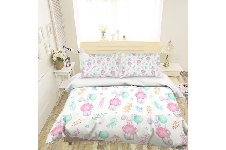 3D Cartoon Rabbit Balloon Quilt Cover Set Bedding Set Pillowcases 123-King