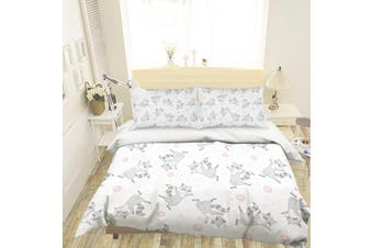 3D Cartoon Fox Grey Quilt Cover Set Bedding Set Pillowcases 120-Single