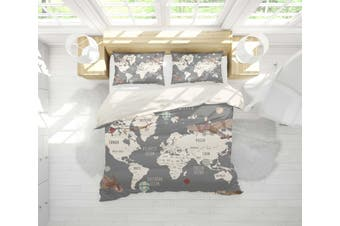 3D Grey World Map Aircraft Quilt Cover Set Bedding Set Pillowcases 29-Single