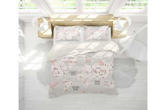 3D Grey World Map Animal Quilt Cover Set Bedding Set Pillowcases 27-Single