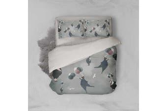 3D Grey Balloon Pigeon Quilt Cover Set Bedding Set Pillowcases 22-Single