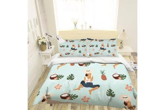 3D Cartoon Pineapple Coconut Quilt Cover Set Bedding Set Pillowcases 117-Single