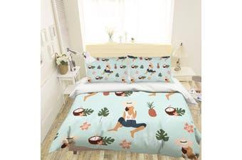 3D Cartoon Pineapple Coconut Quilt Cover Set Bedding Set Pillowcases 117-Double