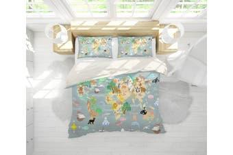3D Grey World Map Quilt Cover Set Bedding Set Pillowcases 249-Single