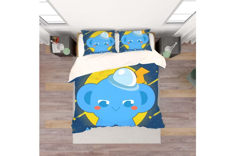 3D Anime Alien Prairie Quilt Cover Set Bedding Set Pillowcases 56-Queen