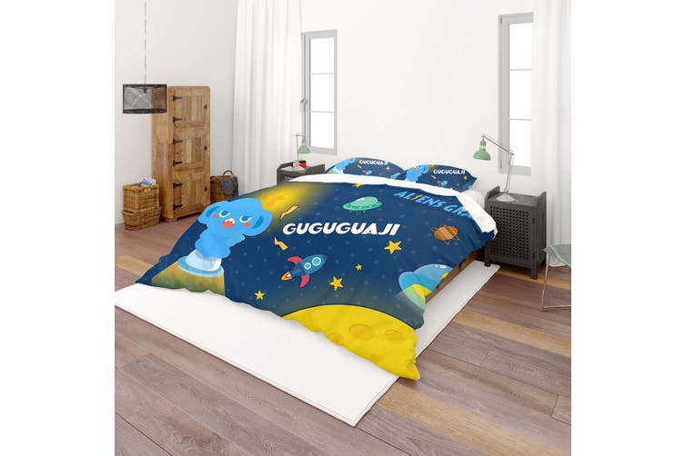 3D Anime Alien Prairie Quilt Cover Set Bedding Set Pillowcases 51-King