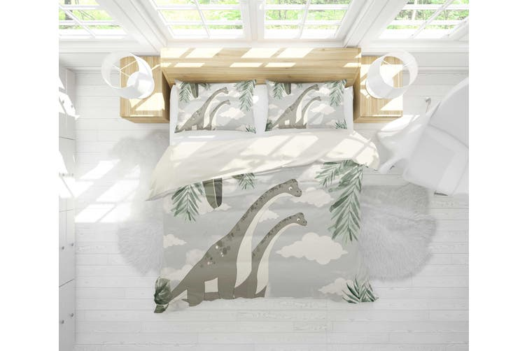 3D Dinosaur Clouds Leaves Quilt Cover Set Bedding Set Pillowcases 18-Queen