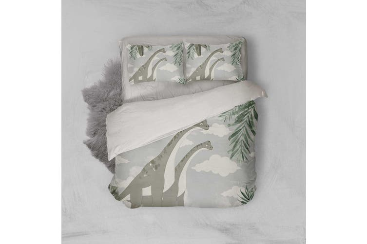 3D Dinosaur Clouds Leaves Quilt Cover Set Bedding Set Pillowcases 18-King