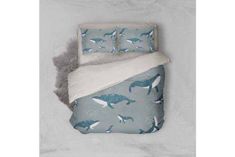 3D Green Whale Quilt Cover Set Bedding Set Pillowcases 17-Single